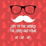 Grußkarte der frohen Weihnachten mit Santa Claus Santa Claus mit der Tasche der Geschenke Sankt-` s Schnurrbart und Gläser Santa  Lizenzfreie Stockfotos