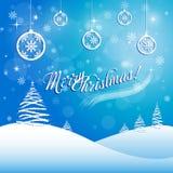 Grußkarte der frohen Weihnachten mit Schneeflocken und Bällen stock abbildung