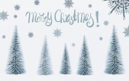 Grußkarte der frohen Weihnachten mit Textbeschriftung und dekorativer Tannenbaumwald und gemalte Schneeflocken lizenzfreie stockfotografie