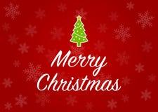 Grußkarte der frohen Weihnachten mit Weihnachtsbaum im roten Schneeflockenhintergrund Stockfotografie