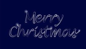 Grußkarte der frohen Weihnachten Nacht dunkelblau mit silbernem Retro- Guss Sperkles Vektor-Feiertag Stockbild