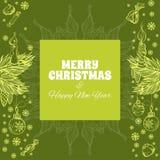 Grußkarte der frohen Weihnachten und des glücklichen neuen Jahres Stockbild