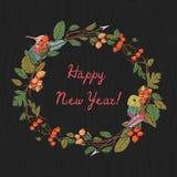 Grußkarte der frohen Weihnachten und des glücklichen neuen Jahres lizenzfreie abbildung