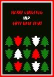 Grußkarte der frohen Weihnachten und des glücklichen neuen Jahres stockbilder