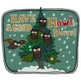 Grußkarte der frohen Weihnachten und des glücklichen neuen Jahres Haben Sie einen guten Feiertagstitel Polysemes Wort homonym Kie Stockbild