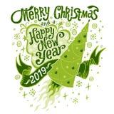 Grußkarte 2019 der frohen Weihnachten und des guten Rutsch ins Neue Jahr stockbild