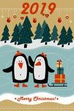 Grußkarte 2019 der frohen Weihnachten und des guten Rutsch ins Neue Jahr lizenzfreie abbildung