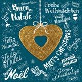 Grußkarte der frohen Weihnachten von der Welt in den verschiedenen Sprachen Stockfotografie