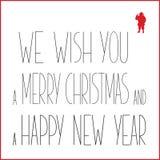 Grußkarte der weißen Weihnacht mit schwarzem Text und rotem Schattenbild von Santa Claus Lizenzfreie Stockfotos
