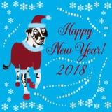 Grußkarte des Chinesischen Neujahrsfests mit dalmatinischem Hund Stockfotografie
