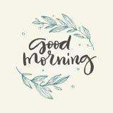 Grußkarte des gutenmorgens mit Blumen Lizenzfreie Stockfotografie