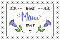 Grußkarte des Mutter Tages Beste Karte der Mutter überhaupt mit netten Blumen und Gekritzelelementen Stockfoto