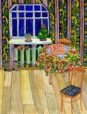 Grußkarte des neuen Jahres Aquarell-Hand gezeichnete Weihnachtsabendsinnenillustration Festliche Tabelle mit Torte Handschuhe und Lizenzfreies Stockfoto