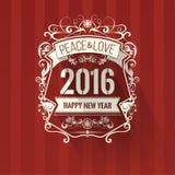 Grußkarte des neuen Jahres des Farbschemas der modernen Art rote weiße auf dunkelrotem Hintergrund Stockfotografie