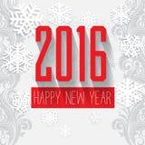Grußkarte des neuen Jahres des Farbschemas des grauen Weiß der modernen Art rote Stockfotografie