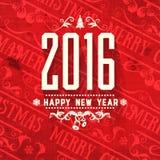 Grußkarte des neuen Jahres des Farbschemas des modernen Artgutshofs rote weiße Lizenzfreies Stockbild