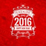 Grußkarte des neuen Jahres des Farbschemas des modernen Artgutshofs rote weiße Stockfoto