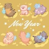 Grußkarte des neuen Jahres Fliegenschweine auf Goldhintergrund Auch im corel abgehobenen Betrag lizenzfreies stockfoto
