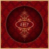 Grußkarte 2017 des neuen Jahres im Gold und im Rot Vektor lizenzfreie abbildung