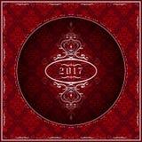 Grußkarte 2017 des neuen Jahres im Rot Lizenzfreie Stockfotografie