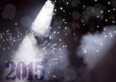Grußkarte des neuen Jahres - 2015 im Scheinwerferlicht Stockfotos