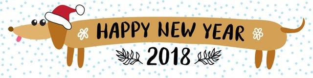 Grußkarte 2018 des neuen Jahres mit Dachshundhund Lizenzfreies Stockfoto