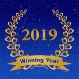 Grußkarte des neuen Jahres mit dem Goldlorbeerkranz bestanden aus zwei Niederlassungen mit bunten Herzen und Stämmen mit einem Go stock abbildung