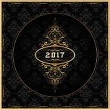 Grußkarte 2017 des neuen Jahres mit Goldverzierungen Vektor Lizenzfreies Stockbild