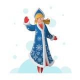 Grußkarte des neuen Jahres mit Karikatur Schnee-Mädchen Lizenzfreie Stockbilder