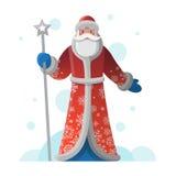 Grußkarte des neuen Jahres mit Karikatur Vater Frost Stock Abbildung