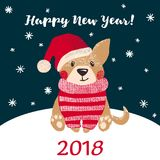 Grußkarte des neuen Jahres mit nettem Hund Lizenzfreies Stockfoto