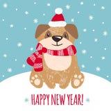 Grußkarte des neuen Jahres mit nettem Hund Lizenzfreie Stockbilder