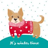 Grußkarte des neuen Jahres mit nettem Hund Stockbilder