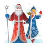 Grußkarte des neuen Jahres mit Vater Frost und Schnee-Mädchen Lizenzfreie Stockbilder