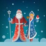 Grußkarte des neuen Jahres mit Vater Frost und Schnee-Mädchen Lizenzfreie Stockfotografie