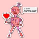 Grußkarte des Valentinsgrußes mit einem Roboter Stockfotos