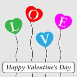 Grußkarte des Valentinsgrußes mit farbigen Ballonen Stockfoto