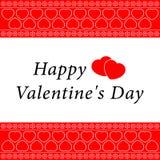 Grußkarte des Valentinsgrußes mit weißer Verzierung Lizenzfreie Stockbilder