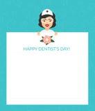 Grußkarte für den Doktor Internationaler Tag der Zahnarzt Vector-Illustration Flaches Design Lizenzfreie Stockbilder