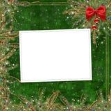 Grußkarte für den Feiertag, mit einem roten Farbband Stockbild