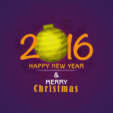 Grußkarte für Feier des neuen Jahres 2016 und des Weihnachten Stockbild