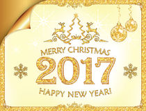 Grußkarte für neues Jahr 2017! mit der Verpackung der Ecke Lizenzfreies Stockbild