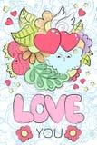 Grußkarte für Valentinsgrußtag, Geburtstag, speichern die Datumseinladung Karikaturgekritzelillustration Romance, Kuss und Umarmu Lizenzfreies Stockfoto