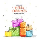 Grußkarte für Weihnachten und guten Rutsch ins Neue Jahr vektor abbildung