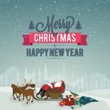 Grußkarte für Weihnachten und neues Jahr vektor abbildung