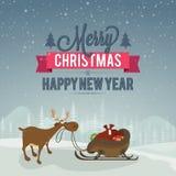 Grußkarte für Weihnachts- und des neuen Jahresfeier lizenzfreie abbildung