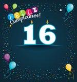Grußkarte Feliz Cumpleanoss 16 - alles Gute zum Geburtstag 16 in der spanischen Sprache - mit weißen Kerzen lizenzfreie abbildung
