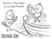 Grußkarte Freundtagvogel-Trennung ist Traurigkeit Vektor Abbildung