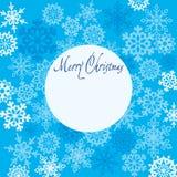 Grußkarte frohe Weihnachten mit Schneeflocken Lizenzfreies Stockbild