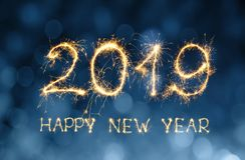 Grußkarte guten Rutsch ins Neue Jahr 2019 Stockbilder